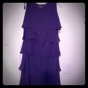 Vibrant Purple Crepe Tiered Party Dress
